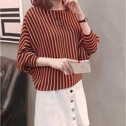Áo len nữ Form rộng tay dài Hàn Quốc phối sọc cho tết 2021