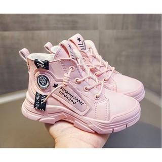 (Kèm ảnh thật) Giày boot trẻ em chất da cổ thấp cho bé trai, bé gái EB005