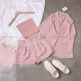 Áo vest nữ kèm quần ngắn và áo hai dây bộ vest nữ ba món - CHIB46 thumbnail