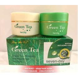 Kem dưỡng da mặt mờ tàn nhang nám  Huashuli green tea ngày đêm - kem trà xanh - HX1640