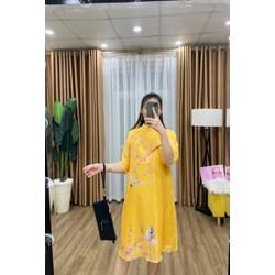 Váy bầu mùa đông cách tân lụa siêu nhẹ Hàn cho mẹ bầu diện tết - Đầm bầu dự tiệc du xuân thiết kế
