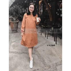 VNT008 - váy nhung tăm màu da bò sun ngực đủ sz S-M-L