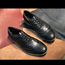 [Rẻ Vô Địch + Free Ship] Giày Tây Nam buộc dây da bò mộc màu đen nguyên tấm dáng thể thao Made in Viet Nam, thiết kế thời trang, trẻ khỏe phù hợp phong cách hiện đại năng động LT005 Sr7, càng đi càng mềm, càng đi càng êm chân