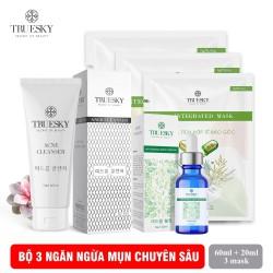 Bộ ngừa mụn da mặt Truesky M02 gồm 1 serum ngừa mụn tràm trà 20ml + 1 sữa rửa mặt than hoạt tính 60ml + 3 miếng mặt nạ tế bào gốc Truesky