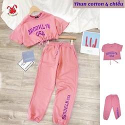 Set áo croptop quần jogger hình sóc - Barbie từ 10-40kg. Form thể thao croptop -Thun cotton -Red Ant Kids