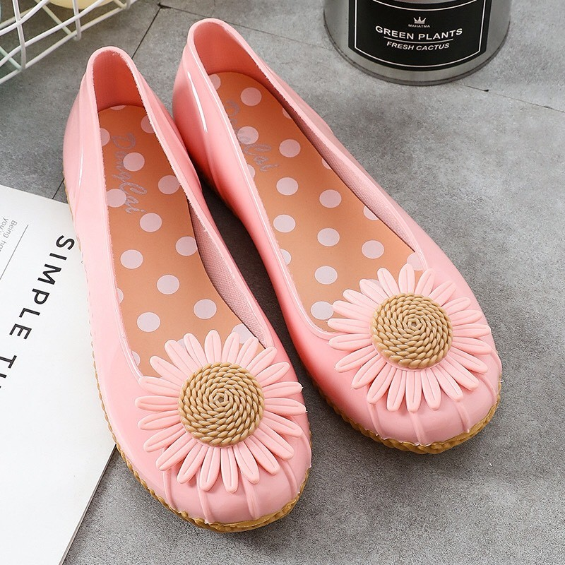 Giày búp bê , giày lười nữ đế thấp chống trượt họa tiết hoa siêu xinh - giaydimua 2