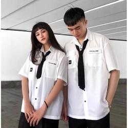 Áo Sơ Mi Tay Ngắn Hàn Quốc Thêu chữ I E YOU 3000 Unisex Form Rộng Không kèm cà vạt