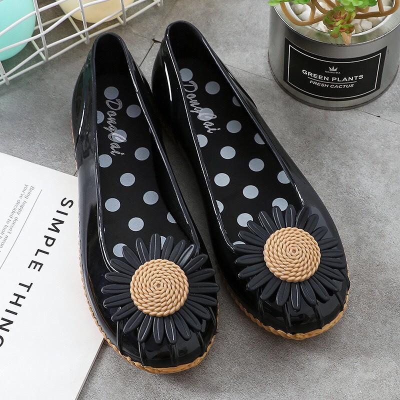 Giày búp bê , giày lười nữ đế thấp chống trượt họa tiết hoa siêu xinh - giaydimua 5