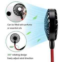 Quạt mini sạc điện dự phòng đeo cổ, cầm tay tiện lợi sử dụng cho văn phòng, thể thao, chạy bộ, du lịch có 3 tốc độ
