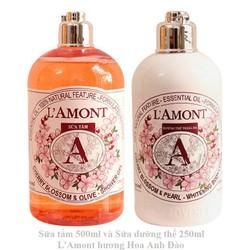 Combo Chăm Sóc Da Sữa Tắm (500ml) Và Sữa Dưỡng Thể (250ml) Lamont En Provence Cherry Blossom (Hương Hoa Anh Đào)