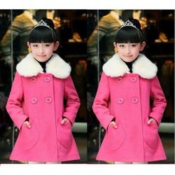 Áo khoác dạ bé gái hồng phong cách Hàn Quốc sành điệu