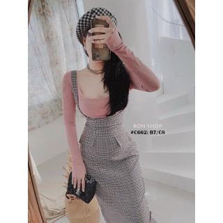 Chân váy yếm dễ thương set yếm carô mẫu mới xinh xắn - MAIB43 thumbnail
