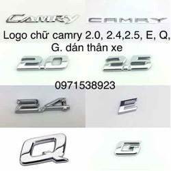 logo chữ toyota camry 2.4, 2.5, 2.0, E,Q,G dán xe toyota