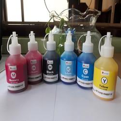 Bộ 6 màu mực dầu in Epson- Pigment UV 100ml không phai màu, chống nước, 6 màu: Xanh, Đỏ, Vàng, Đen, xanh light, đỏ light. Là bình, chai, lọ mực dầu Pigment UV dùng nạp, bơm vào bộ hệ thống ngoài máy in phun Epson-