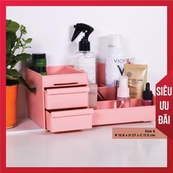 Kệ đựng mỹ phẩm 2 tầng, hộp đựng đồ trang điểm, makeup bằng nhựa Living on