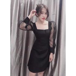 Đầm Váy Cổ Vuông Tay Phối Lưới, Kiểu Dáng Nữ Tính Dễ Thương Trẻ Trung