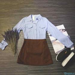 set áo và chân váy chữ A