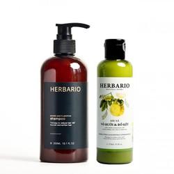 Bộ Dầu Gội và Dầu Xả Vỏ bưởi Bồ kết Herbario 300ml + 270ml chăm sóc tóc toàn diện