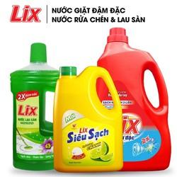 COMBO Nước giặt Lix đậm đặc hương hoa 2Kg + Nước rửa chén Lix siêu sạch hương chanh 1.5Kg + Nước lau sàn Lix hương nắng hạ 1 lít