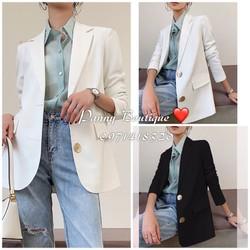 Order có ảnh thật Áo Vest Blazer có lót hai cúc kim loại,  style ulzzang Hàn Quốc.