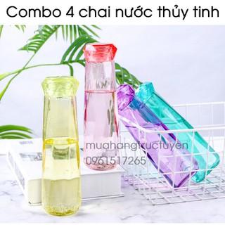 [HỖ TRỢ PHÍ VC] [4 CHAI] CHAI NƯỚC THUỶ TINH detox 450ml Thiết kế đẹp mắt mẫu mới 2021 nắp bằng nhựa thiết kế như viên kim cương - chai nước thủy tinh thumbnail