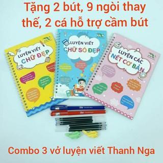 Combo 3 vở luyện viết chữ đẹp Thanh Nga. Tặng kèm 2 bút, 9 ngòi thay thế, 2 cá hỗ trợ cầm bút - VLVTN thumbnail