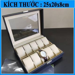 Hộp đựng đồng hồ -FREESHIP- Hộp đựng đồng hồ 10 ngăn bằng da - 10 da thumbnail