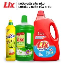 COMBO Nước giặt Lix đậm đặc hương hoa 2Kg + Nước lau sàn nắng hạ 1 lít + Nước rửa chén siêu sạch chanh 800g