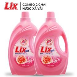 COMBO 2 chai Nước xả vải Lix Soft hương hoa hồng (2 chai x 3.8 lít) - Lưu hương trên từng sợi vải