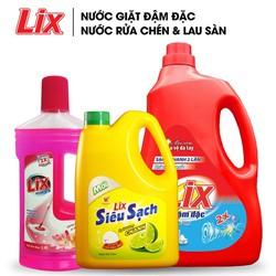COMBO Nước giặt Lix đậm đặc hương hoa 2Kg + Nước rửa chén siêu sạch chanh 1.5Kg + Nước lau sàn lily và hoa hồng 1 lít