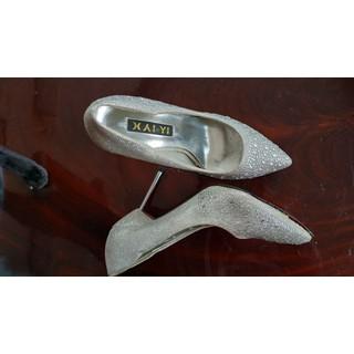 Giày cao gót 7 cm Bạc đính hột đế đỏ - giay7cm90 thumbnail