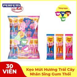 Kẹo mút Chupa Chups Hương Trái Cây Hỗn Hợp nhân sing gum thổi (gói 30 viên)