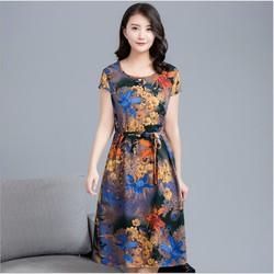 Đầm suông nữ, đầm trung niên cao cấp thắt eo họa tiết hoa lá sang trọng QKT da154