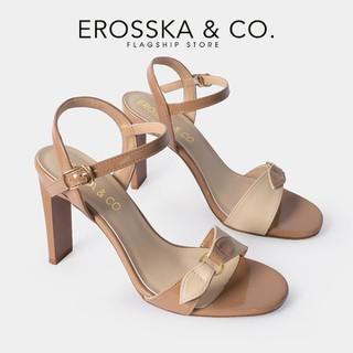 Giày sandal cao gót Erosska thời trang quai ngang phối nơ đính móc khóa tinh tế cao 10cm màu bò _ CS007 - CS007BR thumbnail