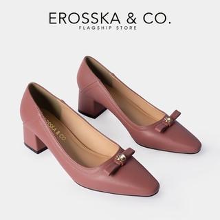 Giày cao gót Erosska thời trang nữ mũi vuông phối nơ đính đá sang trọng cao 5cm màu hồng dâu _ CP007 - CP007PI thumbnail