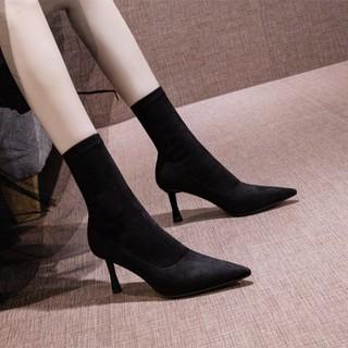 (Bảo hành 12 tháng) Giày boot nữ cổ cao gót mảnh da lộn cao cấp - Giày boot cao gót 8cm - Giày boot da lộn cổ cao 16cm - Linus LN295 - LN295 thumbnail