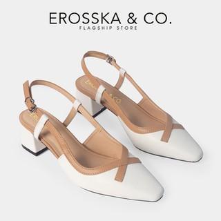 Giày cao gót Erosska thời trang mũi vuông phối dây quai mảnh kiểu dáng basic cao 5cm màu trắng - CL009 - CL009WH thumbnail