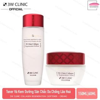 Combo Nước hoa hồng & Kem dưỡng trắng chống lão hoá 3W Clinic Collagen Regeneration Softener 150ml Cream 60ml - 826087909 1