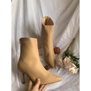 (Bảo hành 12 tháng) Giày Boot nữ gót mảnh thời trang cao cấp - Giày Boot gót nhọn cao 8cm - Giày Nữ da mềm 3 màu Đen Kem và Trắng - Linus LN228 - LN228N thumbnail