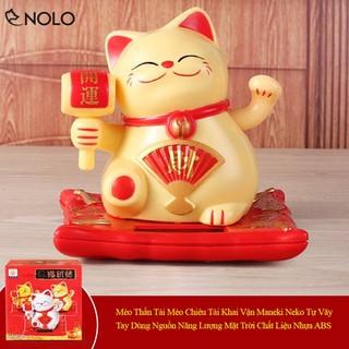 Mèo Thần Tài Mèo Chiêu Tài Khai Vận Maneki Neko Tự Vãy Tay Dùng Nguồn Năng Lượng Mặt Trời Chất Liệu Nhựa ABS - meothantainekokhaivan thumbnail