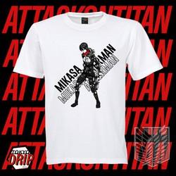 SALE SỐC- SALE SỐC- ÁO thun Anime Shirt Attack on Titan AOT Mikasa Ackerman mùa 4 - mẫu áo Anime màu trắng cổ tròn