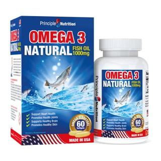Viên uống dầu cá tự nhiên Omega 3 Natural Fish Oil 1000mg PRINCIPLE NUTRITION USA bô sung ca c châ t be o không no hỗ trợ sức khỏe xương khớp tim mạch giu p chô ng la o ho a giảm trầm cảm giúp dễ ngủ và cải thiện sự tập trung - Hộp 60 viên - O3-PRINCIPLENUTRITION(60s) thumbnail