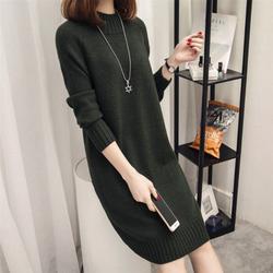 Đầm len nữ ngang gối dài tay dày dặn al43
