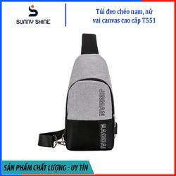 Túi đeo chéo nam, nữ tích hợp cổng kết nối USB, chất liệu vải canvas phối dù cao cấp, dùng cho mọi dịp T551