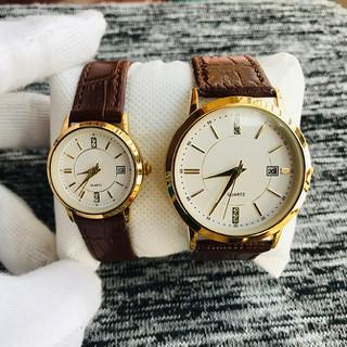 Đồng hồ cặp đôi nam nữ giá 1 đôi viền vàng dây da có lịch tặng kèm 2 pin dự phòng - Ro6c thumbnail