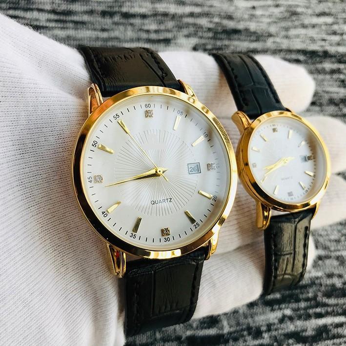 Đồng hồ cặp đôi nam nữ giá 1 đôi dây da đẹp tặng kèm 2 pin dự phòng - Om1c 2