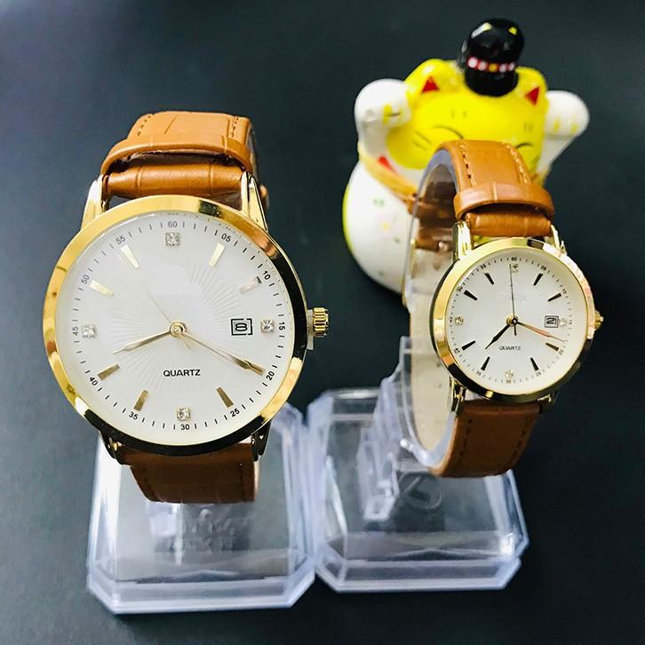 Đồng hồ cặp đôi nam nữ giá 1 đôi dây da đẹp tặng kèm 2 pin dự phòng - Om1c 4