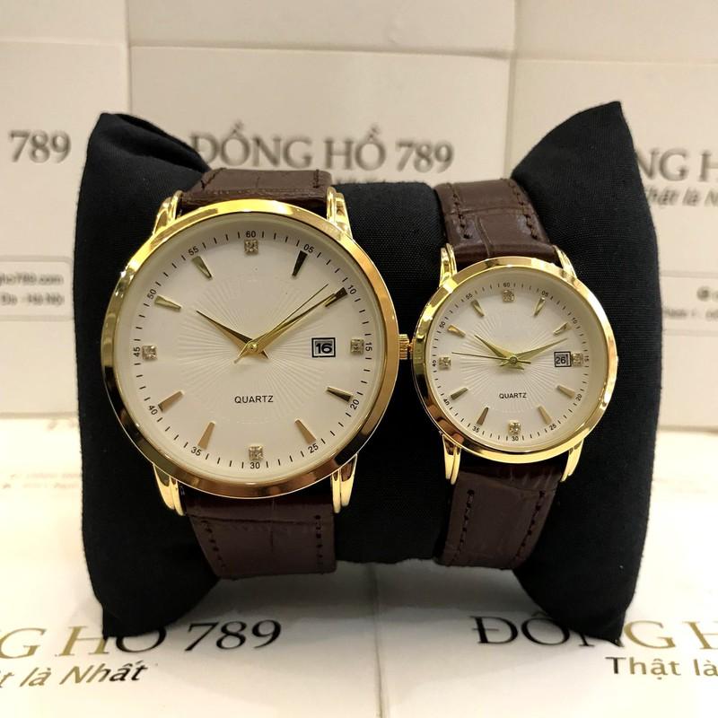 Đồng hồ cặp đôi nam nữ giá 1 đôi dây da đẹp tặng kèm 2 pin dự phòng - Om1c 5