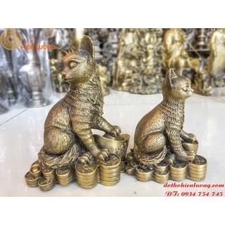 Tượng Mèo Tài Lộc Bằng Đồng Mèo Đứng Trên Thỏi Vàng - TMTLBĐ thumbnail