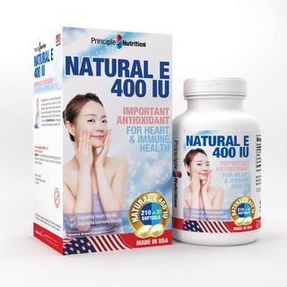 Viên uống bổ sung Vitamin E 400IU PRINCIPLE NUTRITION USA hỗ trợ hệ thống miễn dịch cơ thể tăng cường sức khỏe tim cải thiện tuần hoàn máu giảm tiến trình lão hoá da ngăn ngừa nếp nhăn duy trì vẻ đẹp tự nhiên và tươi sáng làn da - Hộp 240 viên - NE400IU-PRINCIPLENUTRITION(240s) thumbnail